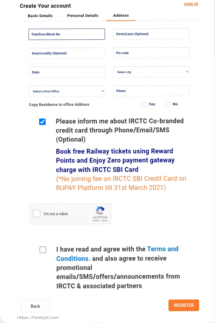 What is IRCTC Account opening form(Address)
